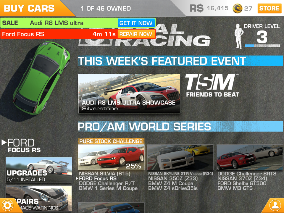real racing 3 binary messiah reviews for games books gadgets and more. Black Bedroom Furniture Sets. Home Design Ideas